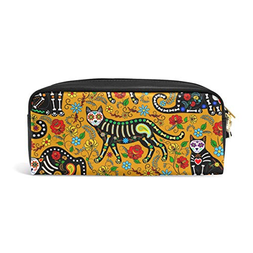 Linomo Pencil Bag Halloween Sugar Skull Cat Zipper Leather Pencil Case Pen Bag Pouch Holder Small Cosmetic Brush Makeup Bag for Travel Office School -