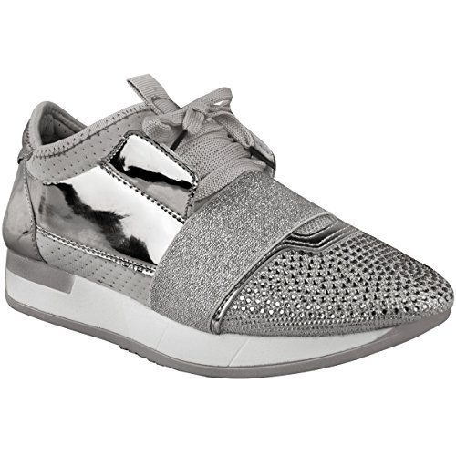 Womens Ladies Diamante Trainers Bali Runners Sneakers Lace Up Sports Fitness New Silver Metallic