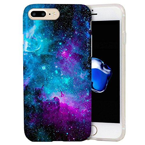 iPhone 8 Plus / iPhone 7 Plus Case, ZUSLAB Fashion Design, Slim Shockproof Flexible TPU, Soft Rubber Silicone Skin Cover for Apple iPhone 8 Plus / iPhone 7 Plus (Purple Cosmos Nebula)