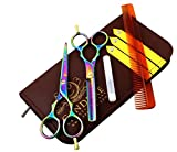"#5: Hairdressing Scissor Shears for Barber and Salon Styling Hair Cutting Thinning Set of 5.5"" Multi Color"