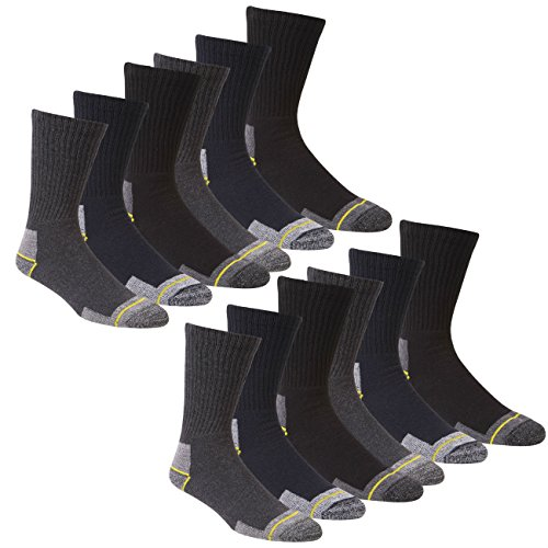 WORK SOCKS Men's Size 12-14 Thick Socks (12 Pair Multipack) Heavy Duty Reinforced Heel For Steel Toe Boots - Assorted Colours - Size (Reinforced Heel)