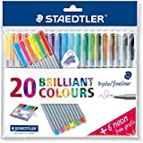 "Triplus Fineliner ""26-Piece Bonus Pack"" Pens by Staedtler, 0.3mm, Metal Clad Tip, 26/PK (20 + 6 Neon Colors), Assorted"