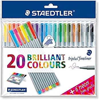 "Triplus Fineliner ""26-Piece Bonus Pack"" Pens by Staedtler, 0.3mm, Metal Clad Tip, 26/PK (20 + 6 Neon Colors), Assorted (1-Pack)"