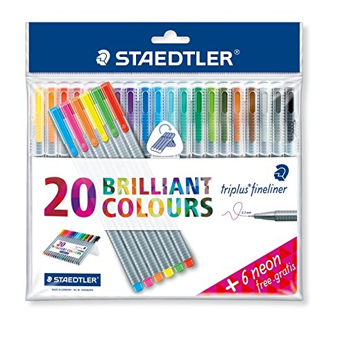 Triplus Fineliner ''26-Piece Bonus Pack'' Pens by Staedtler, 0.3mm, Metal Clad Tip, 26/PK (20 + 6 Neon Colors), Assorted (1-Pack) by STAEDTLER (Image #4)