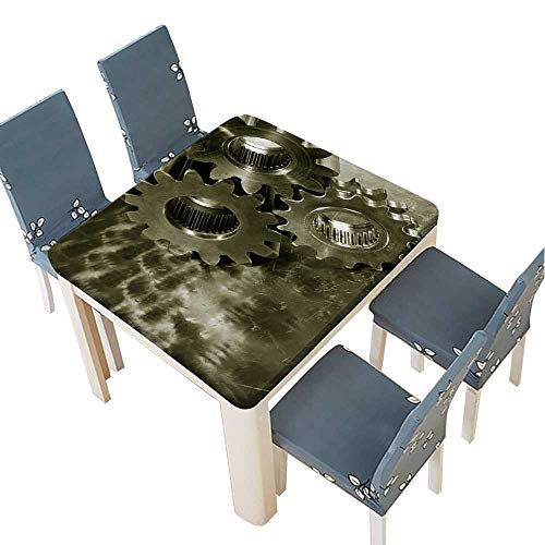 - PINAFORE Natural Tablecloth Large Steel Gears and Wheels Against a Titanium Background,Duplex Bronze Toning idea for Home Use, Machine Washable 69 x 69 INCH (Elastic Edge)