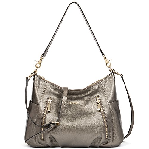 NAWO Women's Leather Hobo Handbags Purse Cross Body Totes Shoulder Top-Handle Bags by NAWO