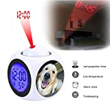 Projection Alarm Clock Wake Up Bedroom with Data and Temperature Display Talking Function, LED Wall/Ceiling Projection,Customize the pattern-138.Echo's nose