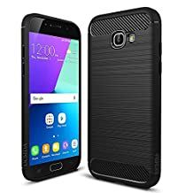 Galaxy A5 2017 Case, UCMDA [Carbon Fiber Pattern] Flexible Soft TPU Cover, Drop Protection / Anti-Scratch / Durable Silicone Shockproof Bumper Case for Samsung Galaxy A5 2017 (A520F 5.2 inch) - Black