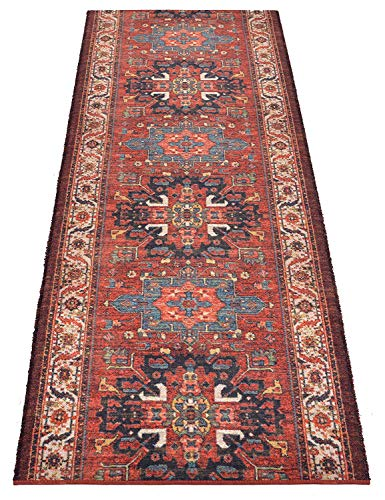 Custom Runner Antique Vintage Look Distressed Persian Medallion Design Runner Rug 35 inch Wide x Your Length Size Choice Antique Collection Roll Runner (Red Terracotta, 26 ft x 35 in)