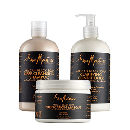 Shea Moisture African Black Soap Combination Pack - Deep Cleaning Shampoo, Balancing Conditioner and Purification Masque - For Dry, Itchy Scalp Moisture Balancing Shampoo