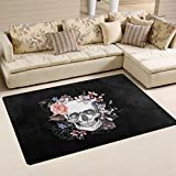 WOZO Sugar Skull Day of the Dead Area Rug Rugs Non-Slip Floor Mat Doormats Living Room Bedroom 31 x 20 inches