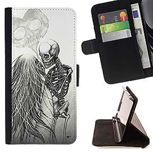 Momo Phone Case / Flip Funda de Cuero Case Cover - Amor Death Metal Esqueleto Cráneo blanco - HTC One A9