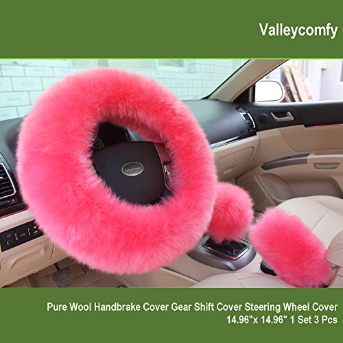 Steering Set Cover Wheel (Valleycomfy Fashion Steering Wheel Covers for Women/Girls/Ladies Australia Pure Wool 15 Inch 1 Set 3 Pcs, Pink)