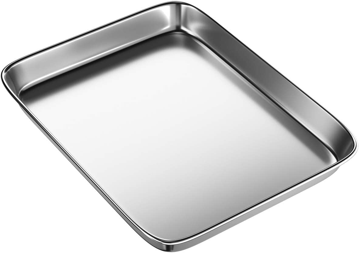 BYkooc Toaster Oven Tray,Stainless Steel Small Cookie Sheets Pans for Toaster Oven Rectangle Size 9 x 7 x 1 inch,Dishwasher Safe Baking Sheet, Anti-rust, Sturdy & Heavy