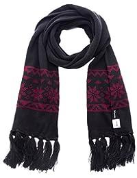 Wantdo Men's Knitted Scarf Unisex Warm Crochet Snowflake Pattern Scarf with Tassel