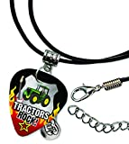 Tractor Tractors Rock Guitar Pick Leather Cord Necklace (R1)