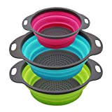 PHILWIN Set of 3 Collapsible Kitchen Colander/Strainer, Two Pieces-4 Quart and One Piece-2 Quart-,Perfect for Draining Pasta, Vegetable,Fruits (Green,Blue, Purple)