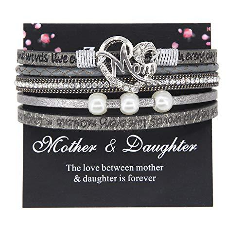 Gray Mom Bracelet CZ Love Heart Cuff Boho Wrap Leather Bracelet Bead Pearl Handmade Inspirational Bracelet Mother Gift Jewelry for Women
