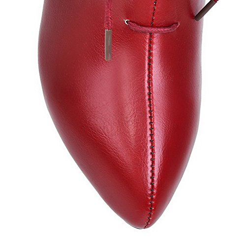 Heels Red top Soft Toe Boots High Closed Material Womens Zipper AllhqFashion Low Pointed gw0SqR