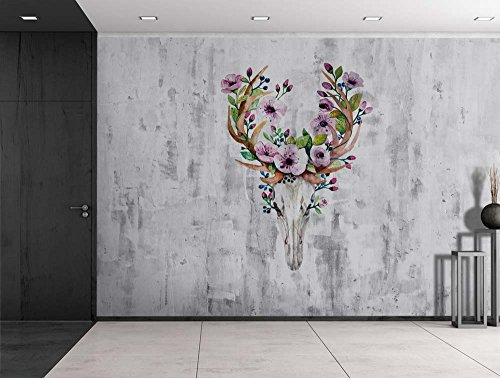 Deer Skeleton with Flowers Sitting on a Grayscale Grungy Texture with a Vignette Effect Around It Wall Mural Removable Vinyl Wallpaper