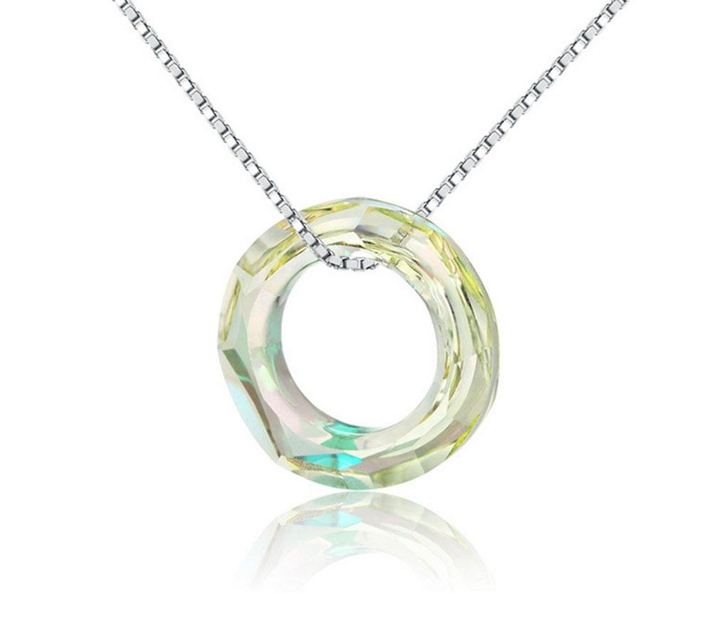 KUKI Collares de plata de ley S925 Colgante de cristal de círculo colorido Cadena de cadena de clavícula cadena , 2