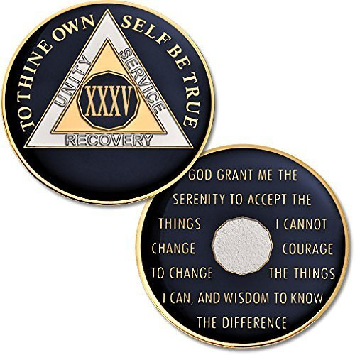 Proof Obverse Like - 35 Year - AA Chip Proof-like Bronze with Tri-Plate - Gold, Nickel, and Blue Enamel - 1 3/8