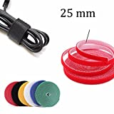 4.5m 25mm Velcro Sticky Adhesive Hook and Loop Tape Cable Tie Wrap Cord Straps Fasten Stitch Stick