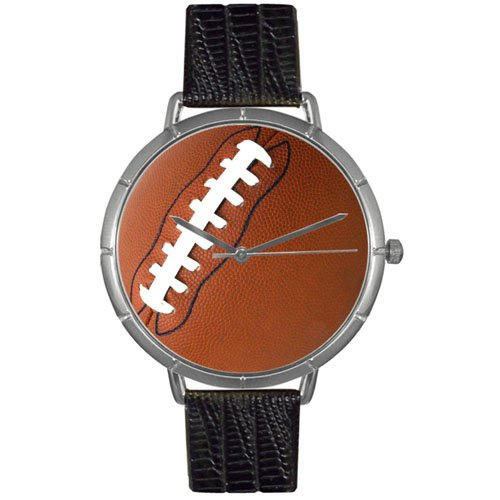Whimsical Watches Men's T0840017 Football Lover Black Leather And Silvertone Photo Watch