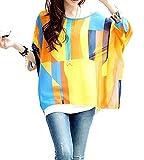 Mullsan Women's Batwing Chiffon Round Neck Semi Sheer Top Loose Blouse T Shirt (WZ-A)