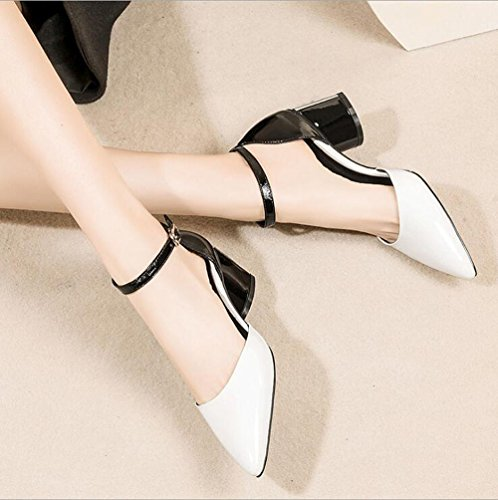 a Cave Donna Scarpe Scarpe di Cuoio Shoe Sandali Bianca store Tacco Dimensioni Colore Tacchi Punta 42 qYfXtBn
