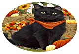 Doggie of the Day Fall Autumn Greeting Black Cat Pumpkins Oval Envelope Seals OVE65236 (20)