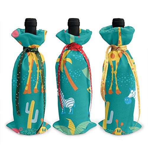 3Pcs Decoration Wine Bottle Covers Bags,Champagne Bags,Animals And African Plants,Giraffes,Elephants,Hippos,Palm Trees,Table Decor For Wedding,Party,Holiday,Christmas,Hotel,Bar,Kitchen