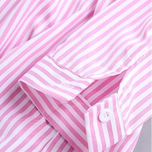 Lovely Iymitz Streifen Langarm Hemd Damen Umlegekragen Knopf