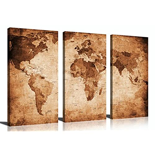Ordinaire YPY Oil Painting World Map For Home Living Room Bedroom Office Paintings  Ready To Hang 3 Piece Canvas Wall Art