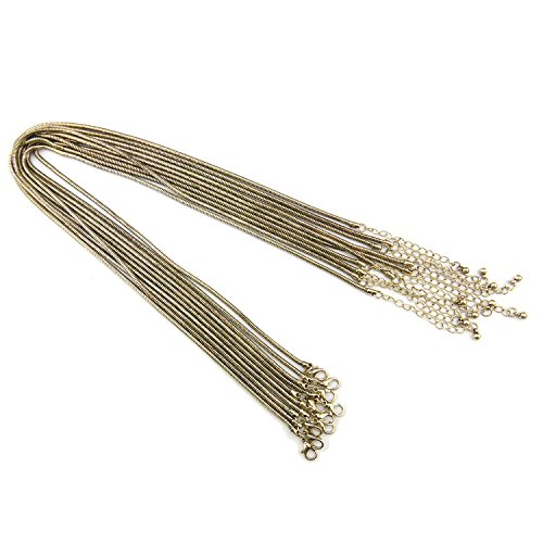"""COIRIS 10PCS Antique Bronze Plated Copper Material Snake Chain Necklace 16 Inch with 2""""Extension Chain (2.5MM, XL-1000-5)"""