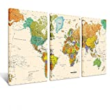 Creative Art - World MAP Canvas Art - Premium Canvas Art Print - Large Colorful Wall Art Deco - Canvas Picture Stretched on Wooden Frame As Modern Gallery Artwork