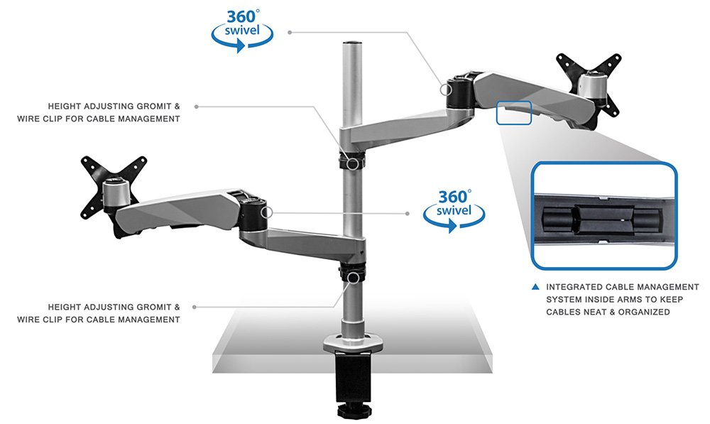 Mount-It! MI-75816 Full Motion Articulating, Tilting, Adjustable Height, Rotating, Swiveling Arm Mount for LCD, LED, and Computer Monitor Displays with Single Arm Vented Cooling Fan Stand for Laptops, Tablets, and Notebooks, C-clamp, Silver by Mount-It! (Image #4)