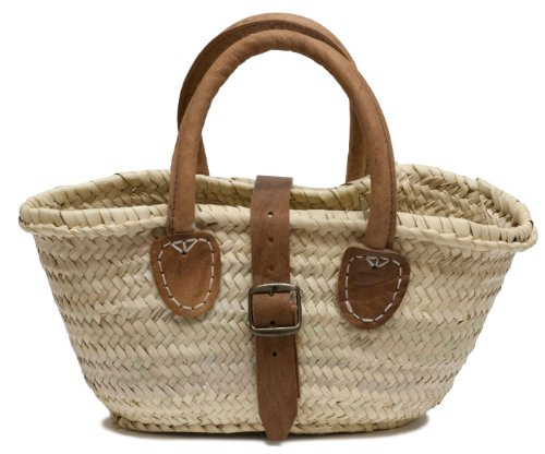Moroccan Straw Petite Handbag w/ Leather Handles & Buckle, 14.5