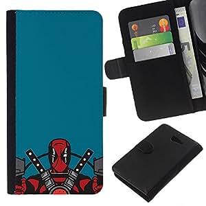 """A-type (Cartoon Ninja Warrior"""") Colorida Impresión Funda Cuero Monedero Caja Bolsa Cubierta Caja Piel Card Slots Para Sony Xperia M2"""