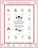 11 X 14 Size Personalized Baby Girl Name Pink Candy Hearts Border My School Years Picture Photo Mat with Teddy Bear Illustration and Poem Verse As Birthday, Baby Shower or Nursery Newborn Gifts