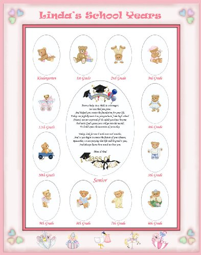 Heart Poem Mat - 16 X 20 Size Personalized Baby Name Pink Candy Hearts Border My School Years Picture Photo Mat with Teddy Bear Illustration and Poem Verse As Birthday, Baby Girl Shower or Nursery Newborn Gifts