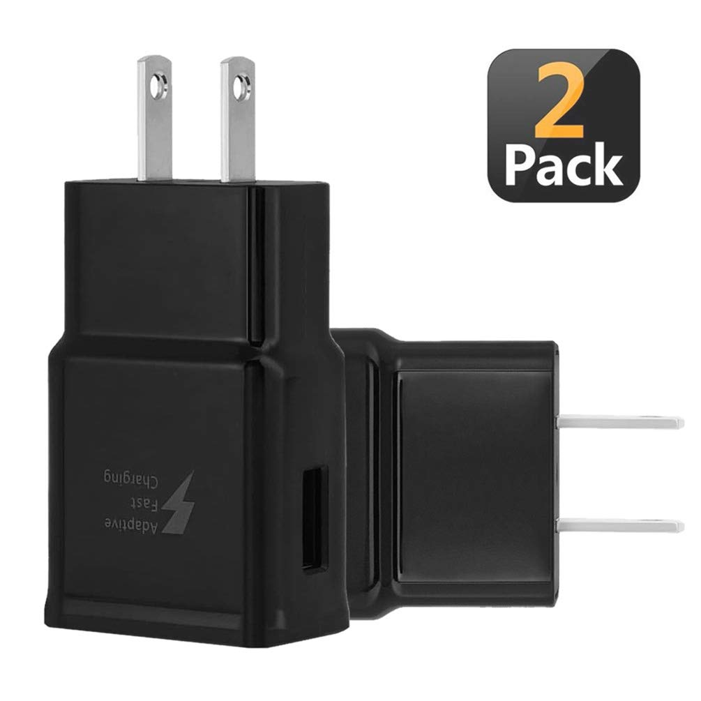 Adaptive Fast Charging Wall Charger Adapter Compatible Samsung Galaxy S8 S9 S10 S10e S6 S7 /Edge/Plus/Active, Note 5,Note 8, Note 9, EP-TA20JBE & Other Smartphones/Devices, Quick Charge (2 Pack)