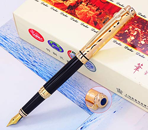 Duke Sapphire Fountain Pen Rose Gold Cap with Original Gift Box Writing Set, Iridium Medium Nib Unique Electroplated Engraving Cap for Office Gentlemen Ladies