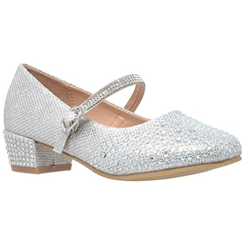 SOBEYO Kids Dress Shoes Glitter Rhinestone Low Heel Mary Jane Pumps Silver SZ - Flat Silver