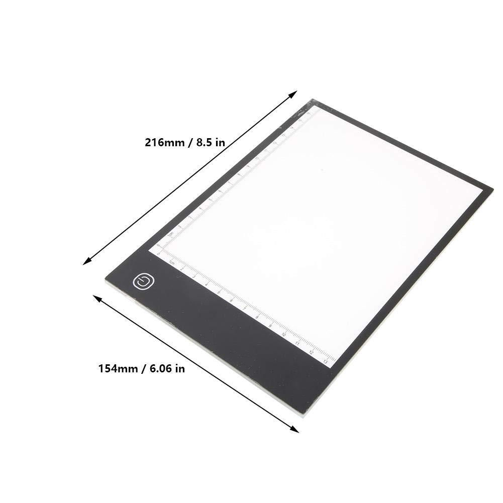 Bicaquu A5 Portatile Sottile Mini Copy Board LED Tracing Pad luminosit/à Regolabile con Scala