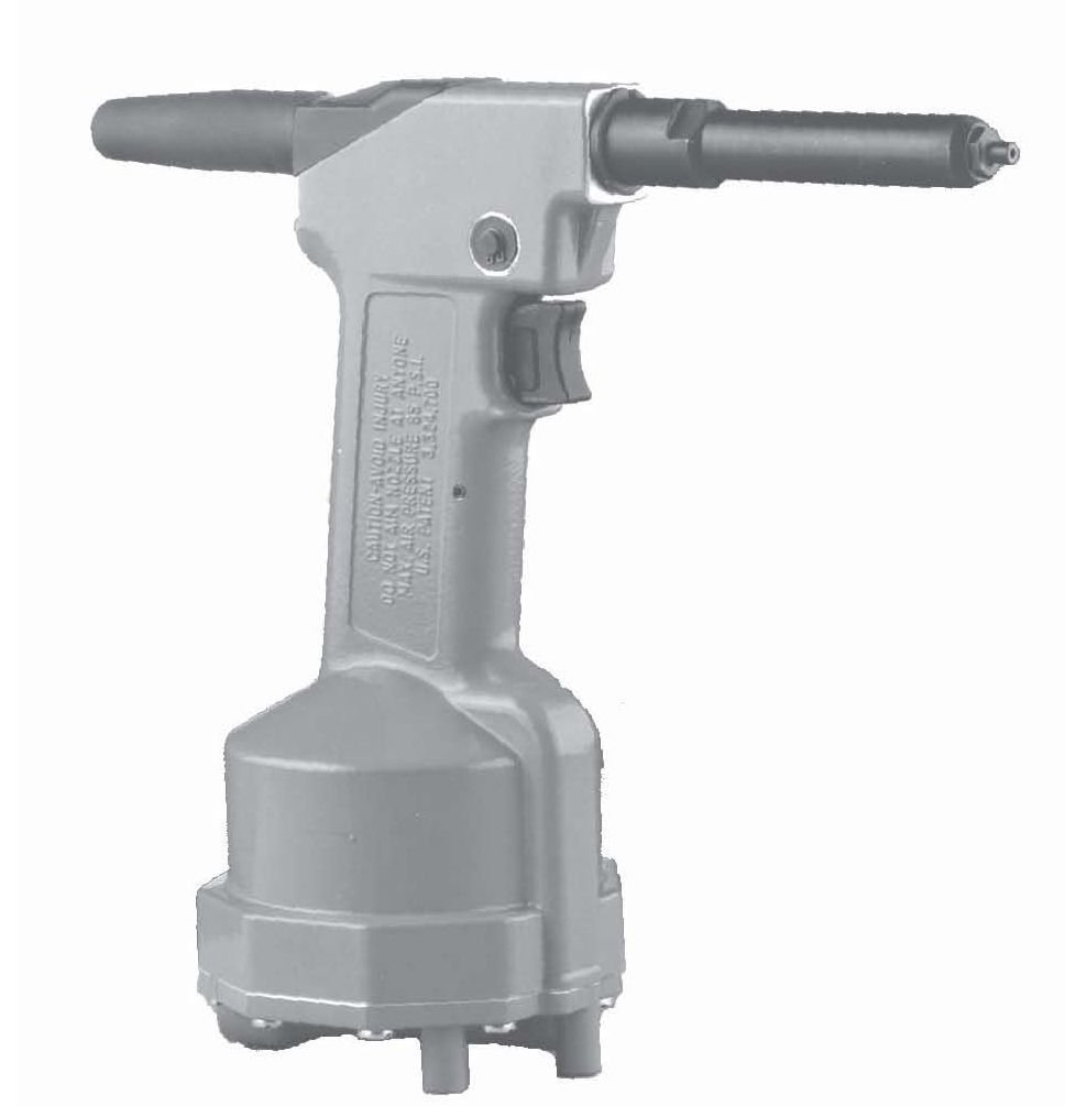 POP BRAND PRG-511 LONG NOSE BLIND PNEUMATIC RIVET TOOL. CAPACITY UP TO 3/16'' DIAMETER STEEL RIVETS. INCLUDES 1/8', 5/32'' & 3/16'' NOSEPIECES.