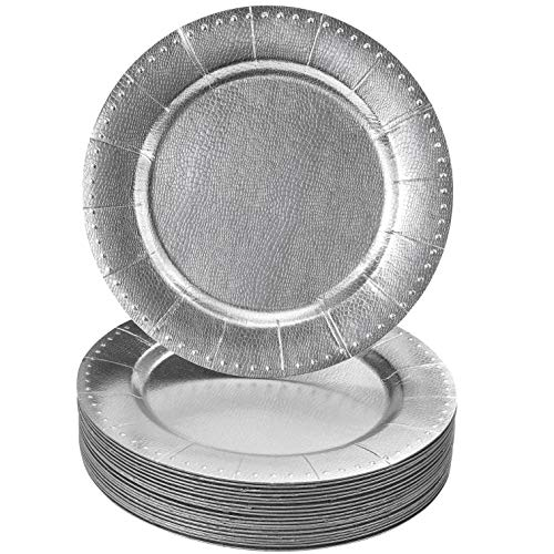 DISPOSABLE ROUND CHARGER PLATES - 20pc (Silver/Beaded) ()