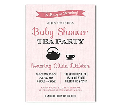 Pink Baby Shower Tea Party Invitation - Tea Party Baby