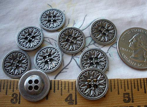 (14MM Metal Carved Flower Buttons Antique Silver Color 22L 9/16