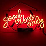 """LiQi ' GOOD VIBES ONLY' Real Glass Handmade Neon Wall Signs for Room Decor Home Bedroom Girls Pub Hotel Beach Cocktail Recreational Game Room (14"""" x 10"""")"""